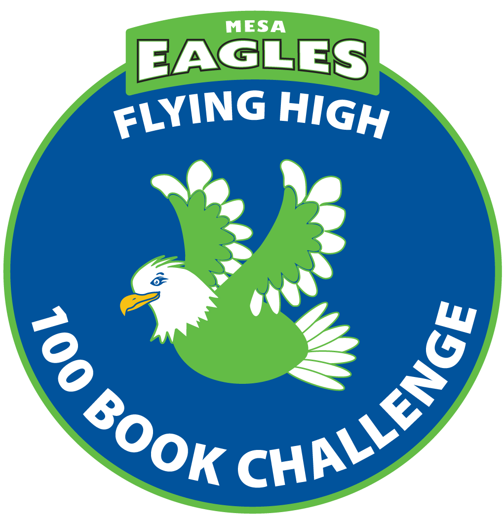 100 book challenge logo with the mascot flying